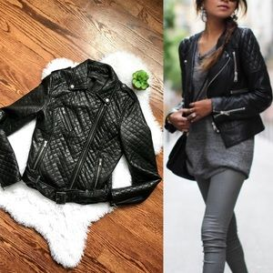 Faux black leather quilted biker moto jacket